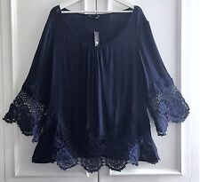 Plus Size 3X Navy Blue Gauze EYELET Crochet Lace Peasant Tunic BOHO Top Blouse