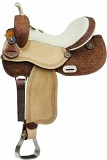 "16"" Cream Seat Tooled Leather Barrel Racing Racer Saddle Texas Star Conchos FQHB"