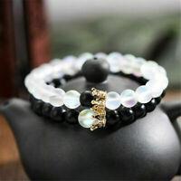 2Pcs King Queen Crown His & Her Couple Bracelets Friendship 8mm Beads Bracelets