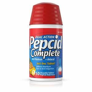 Pepcid Complete Acid Reducer + Antacid, 50 Chewable Tablets for Heartburn Relief