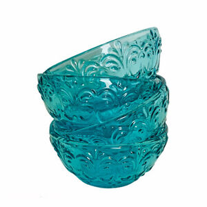 The Pioneer Woman Teal Glass 3.1 Inch Condiment Dip Prep Bowls Set of 4