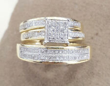 10kt Yellow Gold His Hers Men Woman Diamond Pave Wedding Ring Trio Set Square Sh