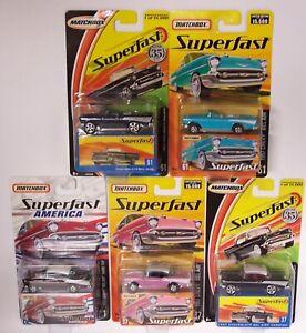 5X MATCHBOX SUPERFAST **1957 CHEVYS** No.37 1 61 HARDTOP CONVERTIBLE MOC