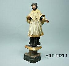 Skulptur Hl. Nepomuk Holz handgeschnitzt Original Fassung 18. Jahrh. Höhe 30 cm