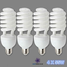 4x55W E27 CFL Spiral Photo Light Bulbs 5500K Energy Saving Daylight Globe Lamp
