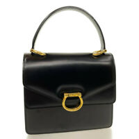 CELINE Leather Hand Bag Black Auth rd491