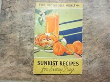 Vintage 1937 Sunkist Recipes for Every Day Cookbook, Orange & Citrus Fruits
