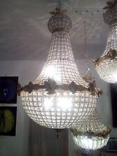 Lustres Montgolfière, pampilles verre, montures bronze, flambant neufs
