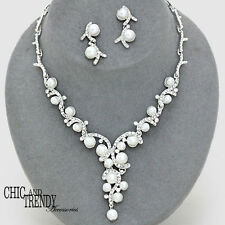 STUNNING WHITE PEARL & CRYSTAL PROM BRIDE WEDDING FORMAL NECKLACE JEWELRY SET
