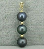 Black round AAA 9-10 mm natural Tahitian pearl pendant necklace 14k Gold