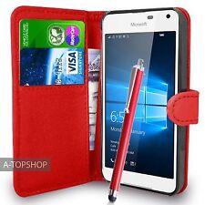 Rojo Funda Tipo Cartera Cuero Artificial libro para Nokia / Microsoft Lumia 650