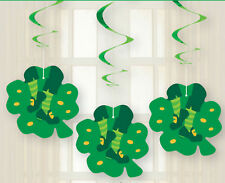 3 x St Patricks Day hanging swirls party decorations long hanging Shamrocks