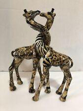 """Vintage La Vie 2Pc Porcelain Patchwork Giraffe Figure 9.5"""" H"""