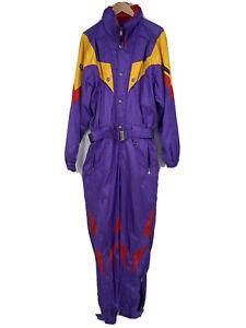 Vtg DESCENTE One piece SKI SUIT Snow Bib Snowsuit Purple Ref Vtg 80s 90s Mens M