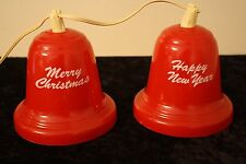 VINTAGE NOMA Twinkling MERRY CHRISTMAS BELLS LIGHTS 2 BELL SET HAPPY NEW YEAR