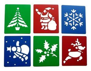 Christmas Stencils Reindeer Santa Snowman Holly Tree Snowflake Plastic Pack of 6