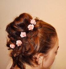 Neu 5 Curlies Haarschmuck Braut  klein Rose rosa