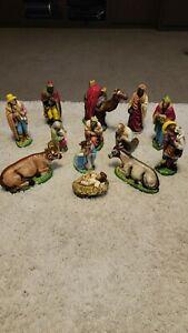 Vintage Ceramic Nativity Set 13 Pieces