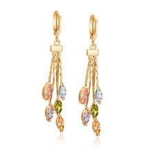 Irregular Yellow gold filled Multicolor crystal long tassel dangle hoop earrings