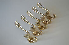 Set of 5 beautiful Arts & Crafts brass heron coathook wall door hanger hook AL76