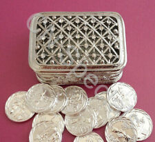 Rectangular Silver Rhinestones Wedding Arras Box & Unity Coins Arras de boda