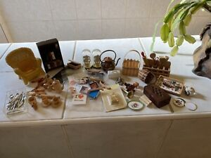 Lot of some Vintage wooden Dolls House Kitchen bundle accessories bundle