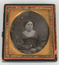 DAGUERREOTYPE WOMAN LACE COLLAR, GOLD JEWELRY.  MAT STAMP MAKER MOSES HALE.