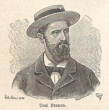 A7538 Franco Tosi - Stampa Antica del 1931 - Xilografia