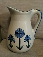 "Louisville Stoneware Bachelor Button Pottery Pitcher X Large - 11"" Tall"