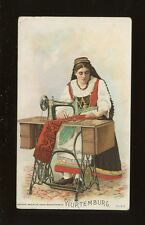 Germany Wurtenburg Social History SEWING Singer ADVERT chromo litho card c1900s?