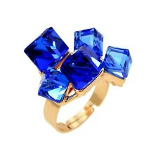 Rose Gold Plated Blue Crystal Geometric Cube Cluster Ring Adjustable Size