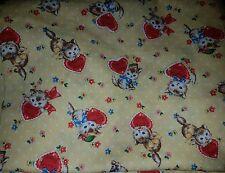 Yellow kawaii kitty cats kitsch red hearts spotty flowers fabric fat quarter