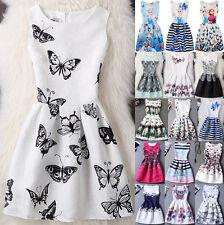 UK Fashion Kids Girls Sleeveless Printing Belted Skater Party Dress Age5-13Y