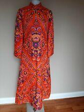Vtg Bill Tice Robe Full Length I.Magnin & Co. Long Colorful Orange Paisley Mod 8