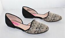 BETSEY JOHNSON Cocoh D'orsay Black Tan Suede Raffia Weave Flats Shoes Size 6.5