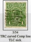 #15 Australia KGV 1d Green 5/54 Notable Flaws (See Descrip) as per ACSSGB - Used