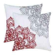 "2Pcs Dark Red Grey Cushion Cover Pillow Case Dahlia Floral Home Car Decor 16x16"""