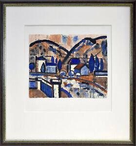 Otto Andreas Schreiber: Expressionistische Landschaft [...]. Sign. O.-Aquarell.