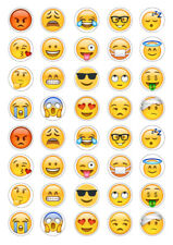40 assorted Emoji 3cm round cupcake edible images toppers