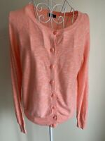 F&F Womens Cardigan Size 12 Neon Orange Long Sleeves Crew Neck With Buttons