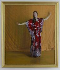 Original Framed Oil Painting Dancer Dancing Girl Woman female brunette artwork