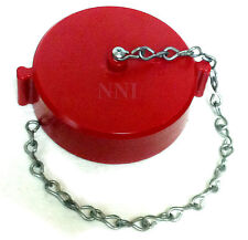 """3"""" NST Fire Hose or Hydrant Cap and Chain  - Red Polycarbonate"""