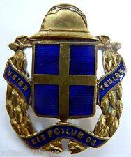 Insigne boutonnière 1914 /1918 WWI UNION DES POILUS DE TOULON Casque ORIGINAL