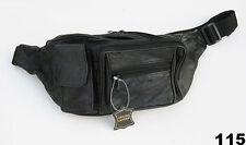 Black Genuine Leather Fanny Pack Phone Holder Waist Hip Bag Travel Sac 115 Nice