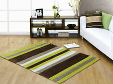 EXTRA X LARGE CHOCOLATE BROWN GREEN STRIPED RUG 200x290