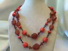 CHUNKY Double-Strand Copper Chain w/Shades of DEEP RED Glass Necklace 14N673