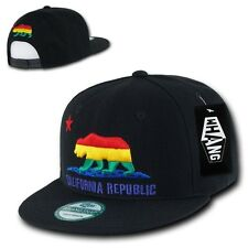 Black Rainbow California Republic Cali Bear Pride Flat Bill Snapback Hat Cap d5bd6cde6ba