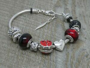 Genuine Sterling Silver Designer Charm Bracelet with 10 Charms,Italy,Murano etc