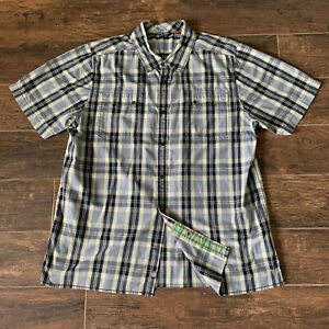 North Face Pearl Snap Button Up Shirt Mens Size XL Gray Plaid Short Sleeve