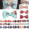 Classic Men's Pretied Bow Tie Pocket Square Set Silk Pink Flowers Wedding Woven